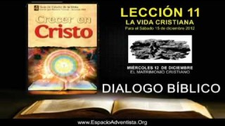 MIÉRCOLES 12/12/2012 – DIALOGO BÍBLICO – EL MATRIMONIO CRISTIANO