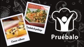 Canoas rellenas – Ensalada de garbanzo con espinacas – Falafel | Pruébalo