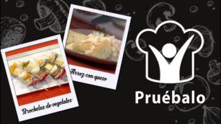 Brochetas de vegetales – Arroz con queso | Pruébalo